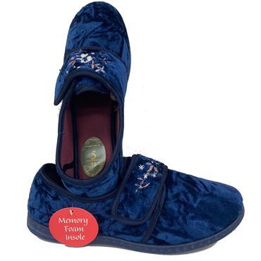 Snuggle Ruby Velcro Slipper-Navy