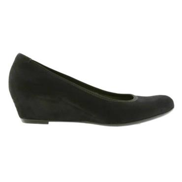 Gabor Black Suede Wedge-BLACK