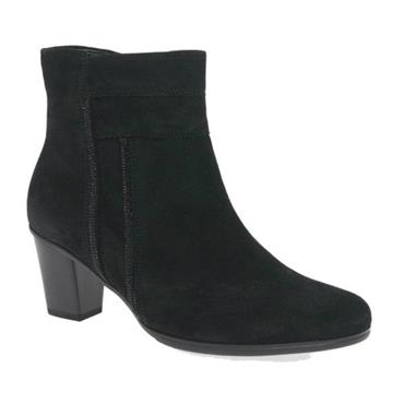 - Gabor Shirley 95.611 Suede Ankle Boot - BLACK