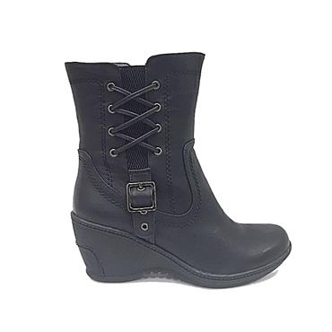 REDZ SIDE LACE WEDGE BOOT-BLACK