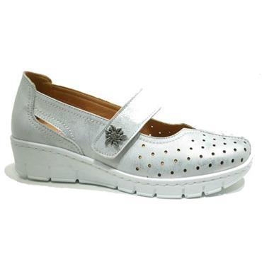 - Softmode Trudy Velcro Casual Shoe - Silver