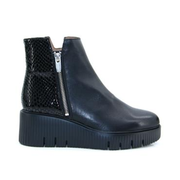 Wonders E6224 Velvet Wedge Ankle Boot-BLACK