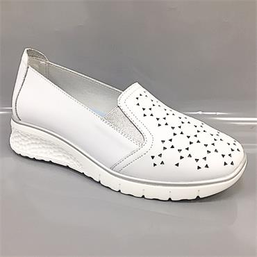 Drilleys Wedge Shoe-White