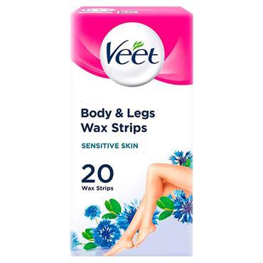 Veet Wax Strips With Easy Gel For Body & Legs Sensitive Skin 20 Wax Strips