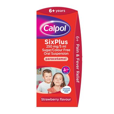 Calpol 6years+ Sugar Free Oral Suspension Strawberry 140ml