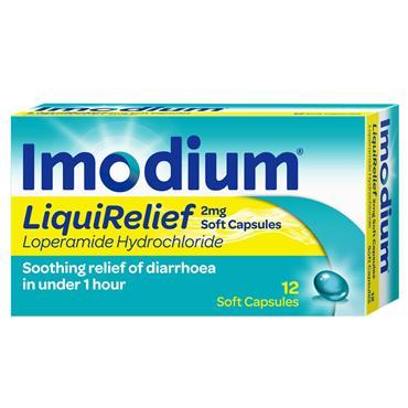 Imodium Liqui Relief Loperamide 2mg Capsules 12 Pack