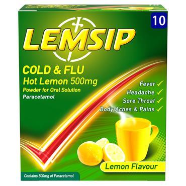 Lemsip Original Cold & Flu Lemon Powder For Oral Solution 10 Pack
