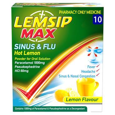 Lemsip Sinus & Flu Lemon Powder For Oral Solution 10 Pack