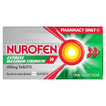 Nurofen Express Max Strength 400mg Ibuprofen Tablets 24 Pack
