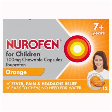 Nurofen For Children 100mg Ibuprofen Chewable Capsules 12 Pack