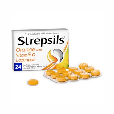 Strepsils Orange With Vitamin C Lozenges 24 Pack