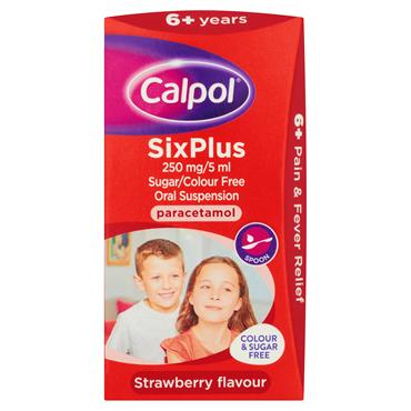 Calpol 6years+ Sugar Free Oral Suspension Strawberry 60ml