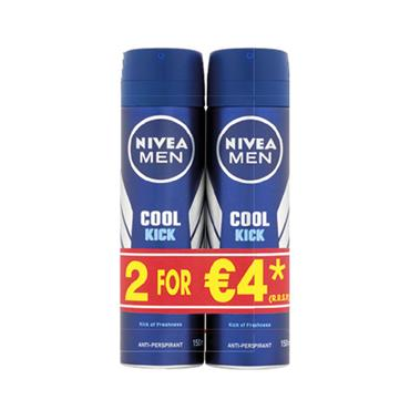 Nivea Men Cool Kick Anti Perspirant 150ml Twin Pack