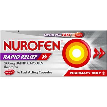 Nurofen Ibuprofen Rapid Relief Liquid Capsules 200mg 16 Capsules