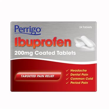 Perrigo Ibuprofen 200mg Coated Tablets 24 Pack