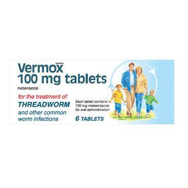Vermox 100mg Mebendazole Tablets 6 Pack