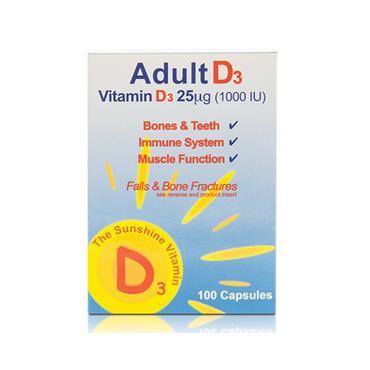 Adult D3 Vitamin D3 100 Capsules