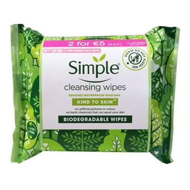 Simple Biodegradable Cleansing Wipes 20 Wipes Twin Pack