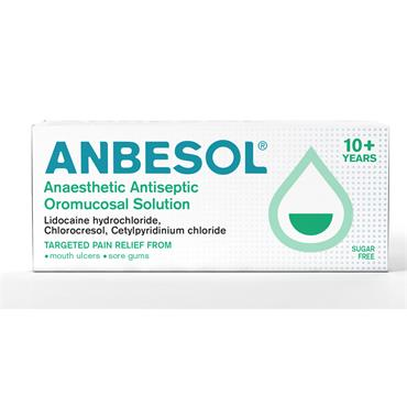 Anbesol Anaesthetic Antiseptic Oromucosal Solution For Mouth Ulcers 10ml