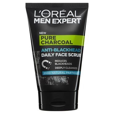 MEN EXPERT PURE CHARCOAL ANTI-BLACKHEAD DAILY FACE SCRUB