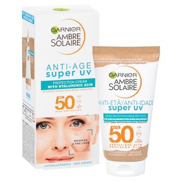 AMBRE SOLAIRE SUPER UV ANTI-AGE FACE PROTECTION CREAM SPF50 TUBE 50ML