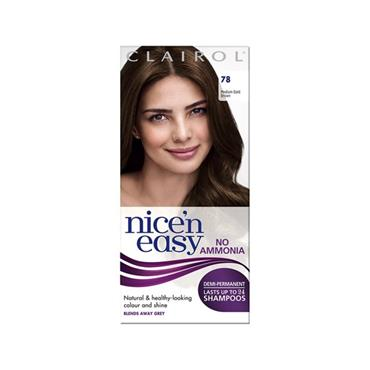NICE N EASY NO AMMONIA NON PERMANENT HAIR DYE 78 MEDIUM GOLD BROWN