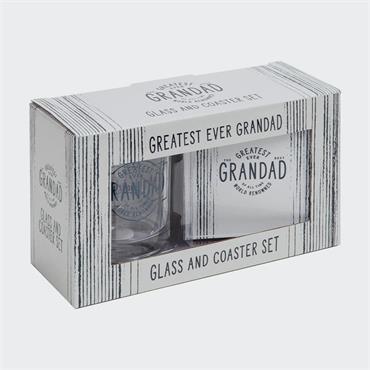 GREATEST GRANDAD GLASS & COASTER SET