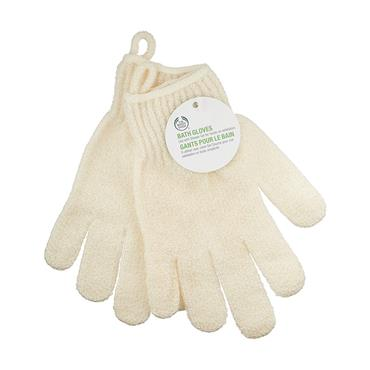 THE BODY SHOP BATH GLOVES WHITE