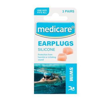 SILICONE SWIM EAR PLUGS X 3