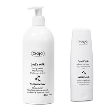 ZIAJA GOATS MILK BODY LOTION 400ML WITH FREE HAND & NAIL CREAM