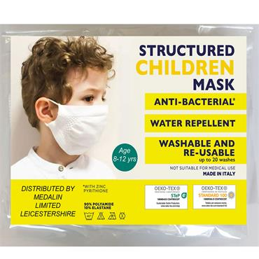 MEDALIN STRUCTURED KIDS FACE MASK 8-12YRS