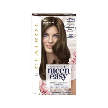 NICE N EASY PERMANENT HAIR DYE 5G MEDIUM GOLDEN BROWN