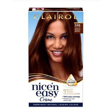 NICE N EASY PERMANENT CREME HAIR DYE 5RB MEDIUM REDDISH BROWN