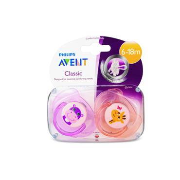 AVENT CLASSIC 6-18M SOOTHERS X2 HIPPO AND GIRAFFE
