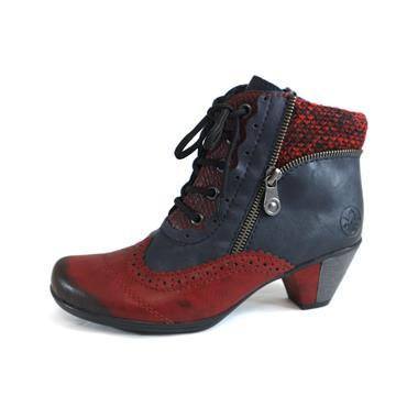59 RIEKER WINE/NAVY LACED BOOT - SIZE 36 - NAVY