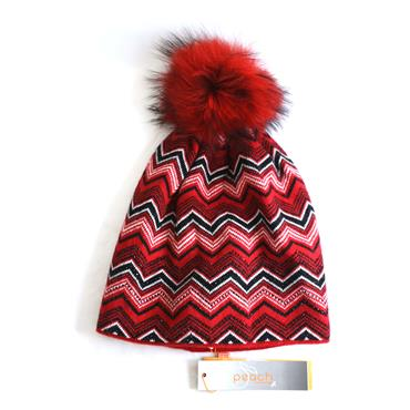PEACH RED PATTERN HAT - RED