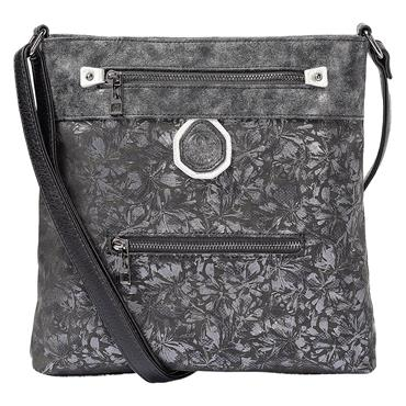 11 RIEKER METALLIC BLACK SATCHEL - BLACK