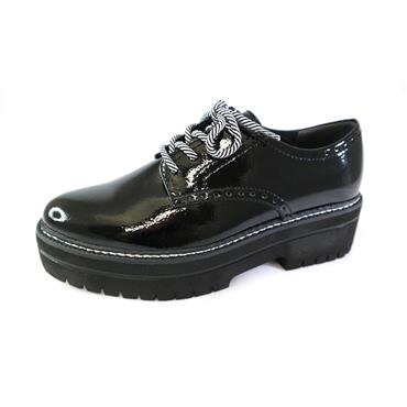 6 TAMARIS THICK PLATFORM LACED SHOE - BLACK