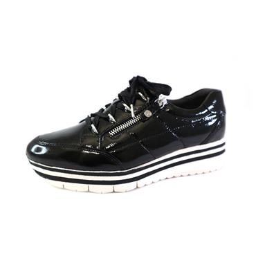 1A TAMARIS LACED PATENT SHOE W/ ZIP - BLACK