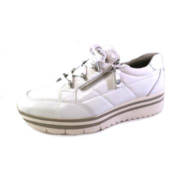 1 TAMARIS LACED PATENT SHOE W/ ZIP - WHITE