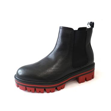 10 TAMARIS ANKLE BOOT W/ RED SOLE - BLACK