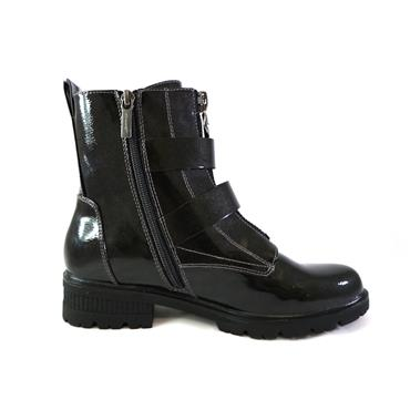 11 TAMARIS PATENT ANKLE BOOT W/ BUCKLES - BLACK