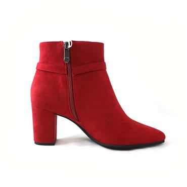 18 MARCO TOZZI BLOCK HEEL ANKLE BOOT - RED