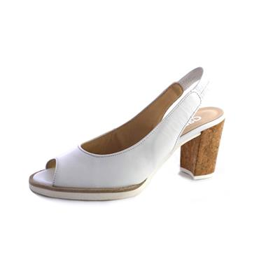 NO95 GABOR WEISS HIGH BLOCK HEEL SANDAL - WHITE