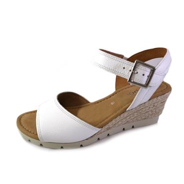 70B GABOR WEISS JUTE WEDGE SANDAL - WHITE