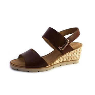 NO99 GABOR HIGH WEDGE SANDALS PEANUT - BROWN