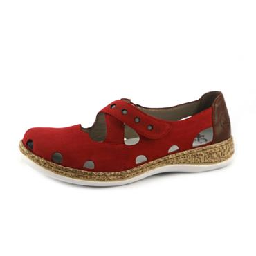No98 RIEKER - RED CROSS OVER STRAP SHOE - RED