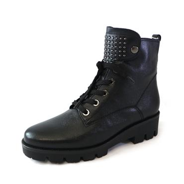 93 GABOR LACED ANKLE BOOT THICK SOLE - BLACK