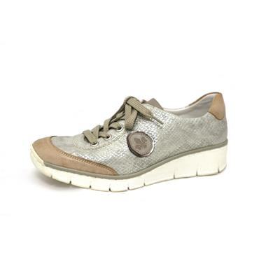 NO 36 RIEKER LACED  WEDGE TRAINER STYLE - SILVER