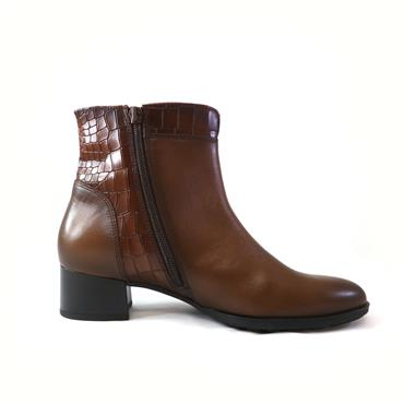 45 GABOR CROC ANKLE BOOR W/ ZIP - BROWN